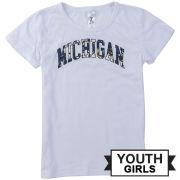 ZooZatz University of Michigan Youth Girls White Short Sleeve Cheer Tee