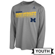 Jordan University of Michigan Football Youth Gray Sideline Long Sleeve Dri-FIT Legend Tee
